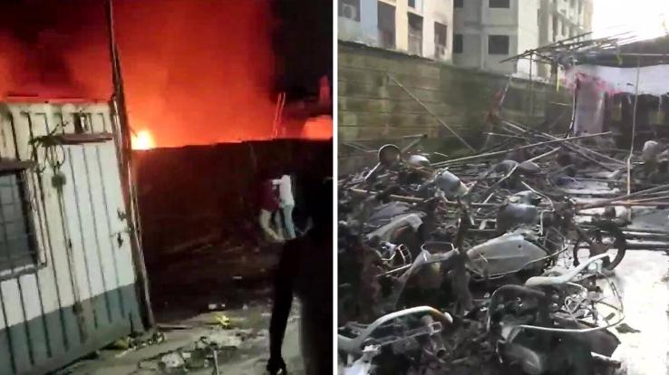 20 motorcycles burnt to ashes due to fire in Mumbai's Kurla area