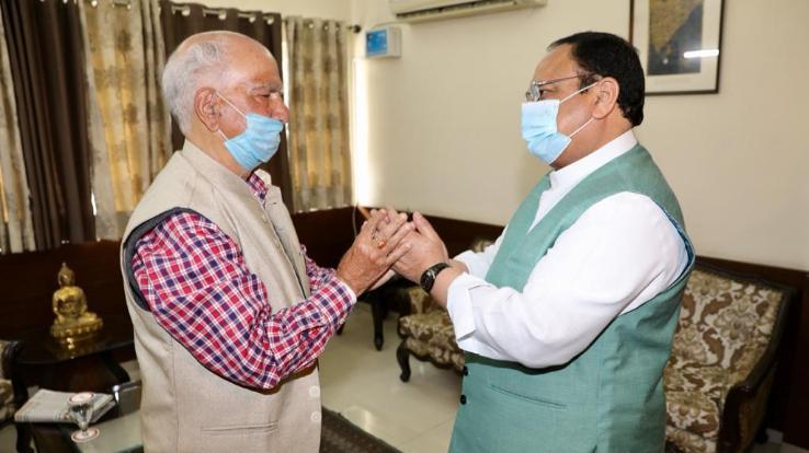 Jagat Prakash Nadda met senior BJP leader Shanta Kumar