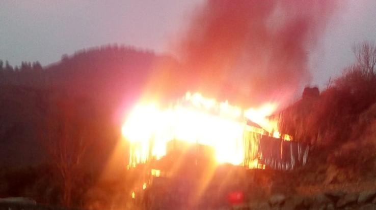 House burnt to ashes, four rooms burnt to ashes
