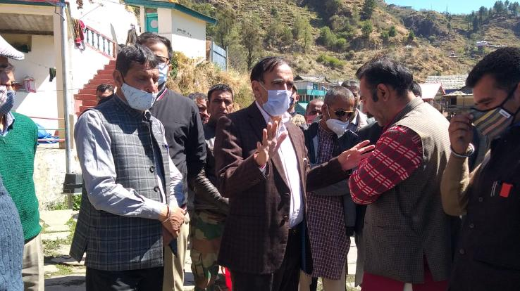 Narendra Bragta, chief whip met families affected by fire incident in Kotkhai