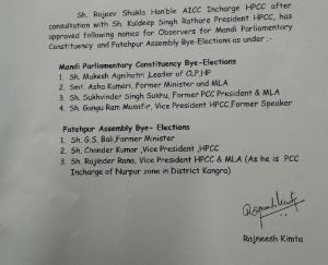 मंडी लोक सभा व फतेहपुर विधानसभा उप चुनाव के लिए कांग्रेस ने की पर्यवेक्षको की नियुक्ति