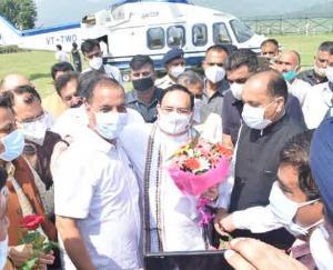 हिमाचल आगमन पर बिलासपुर में मुख्यमंत्री ने जे.पी. नड्डा का किया स्वागत