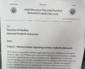 ABVP हिमाचल प्रदेश विश्वविद्यालय इकाई द्वारा विभिन्न छात्र मांगों को लेकर अधिष्ठाता अध्ययन को सौंपा गया ज्ञापन