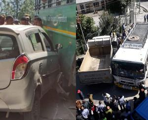 Two road accidents occurred in district Kinnaur, a collision between buses and private vehicles, all safe
