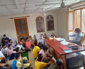 Zilla Parishad member Munish Sharma gheraoed the regional manager office of Sarkaghat depot