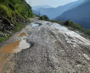 Even after 75 years of independence, Rajgarh Nauhradhar road is shedding tears of its plight