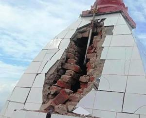 Bilaspur: Lightning fell on Jala Devi temple, priest fainted