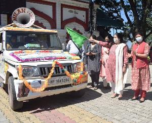 नाहन : सोनाक्षी तोमर ने विशेष स्वच्छता रथ यात्रा को दिखाई हरी झण्डी