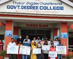 Sujanpur: Slogan writing and poster making competition organized on Wildlife and Water Safety Day