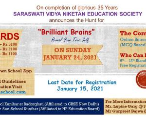 Saraswati Vidya Niketan is organizing brain quiz competition