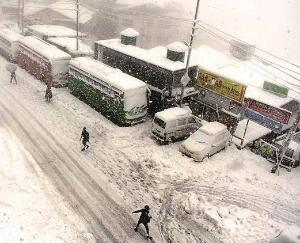 snowfall halts traffic buses hanging in snow