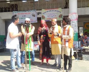Artists of Geet Sangeet Manch Banjar made aware to avoid tuberculosis in Ani