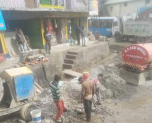 The work of widening of the road started by the Public Works Department