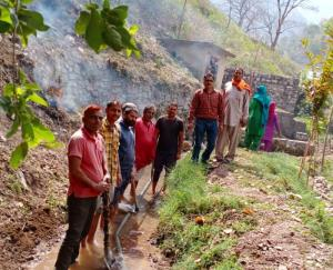 Local people cleaned the source of water in Samyanti