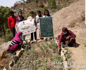 Nutrition message given by setting up a nutrition garden
